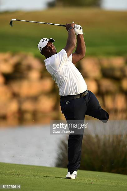 EDGA player Manuel De Los Santos in action during day three of the Portugal Masters at Victoria Clube de Golfe on October 22 2016 in Vilamoura...