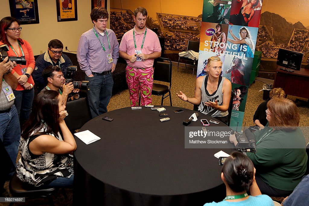 WTA player Maria Sharapova of Russia fields questions from the media during the WTA All Access Hour at the BNP Paribas Open at the Indian Wells Tennis Garden on March 6, 2013 in Indian Wells, California.