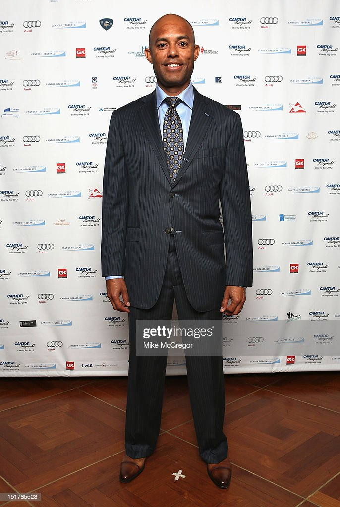 MLB player <a gi-track='captionPersonalityLinkClicked' href=/galleries/search?phrase=Mariano+Rivera&family=editorial&specificpeople=201607 ng-click='$event.stopPropagation()'>Mariano Rivera</a> attends Cantor Fitzgerald & BGC Partners host annual charity day on 9/11 to benefit over 100 charities worldwide at Cantor Fitzgerald on September 11, 2012 in New York City.
