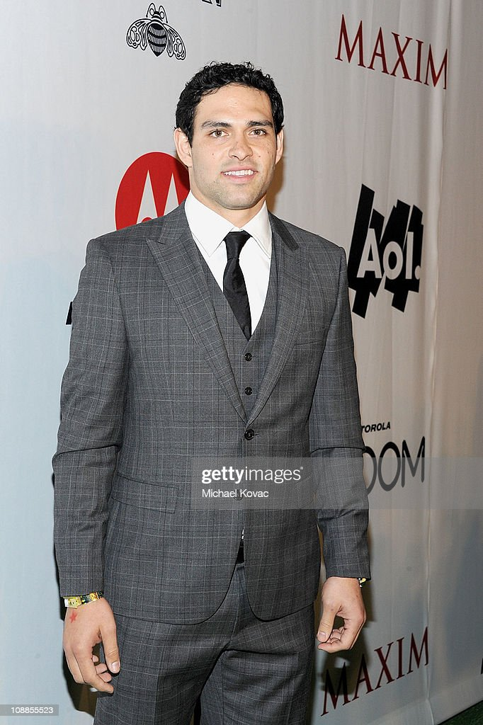 NFL player Mark Sanchez poses with AOL at the Maxim Party Powered by Motorola Xoom at Centennial Hall at Fair Park on February 5, 2011 in Dallas, Texas.