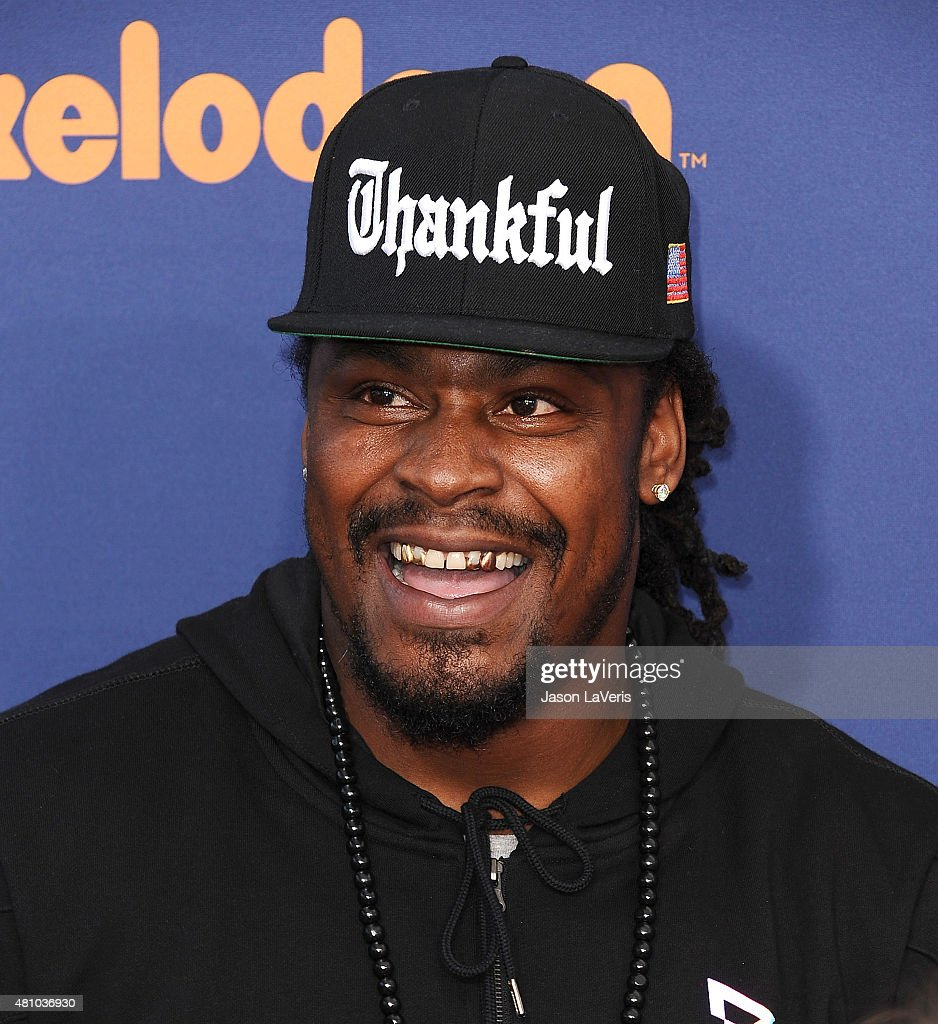 NFL player <a gi-track='captionPersonalityLinkClicked' href=/galleries/search?phrase=Marshawn+Lynch&family=editorial&specificpeople=2159904 ng-click='$event.stopPropagation()'>Marshawn Lynch</a> attends the Nickelodeon Kids' Choice Sports Awards at UCLA's Pauley Pavilion on July 16, 2015 in Westwood, California.