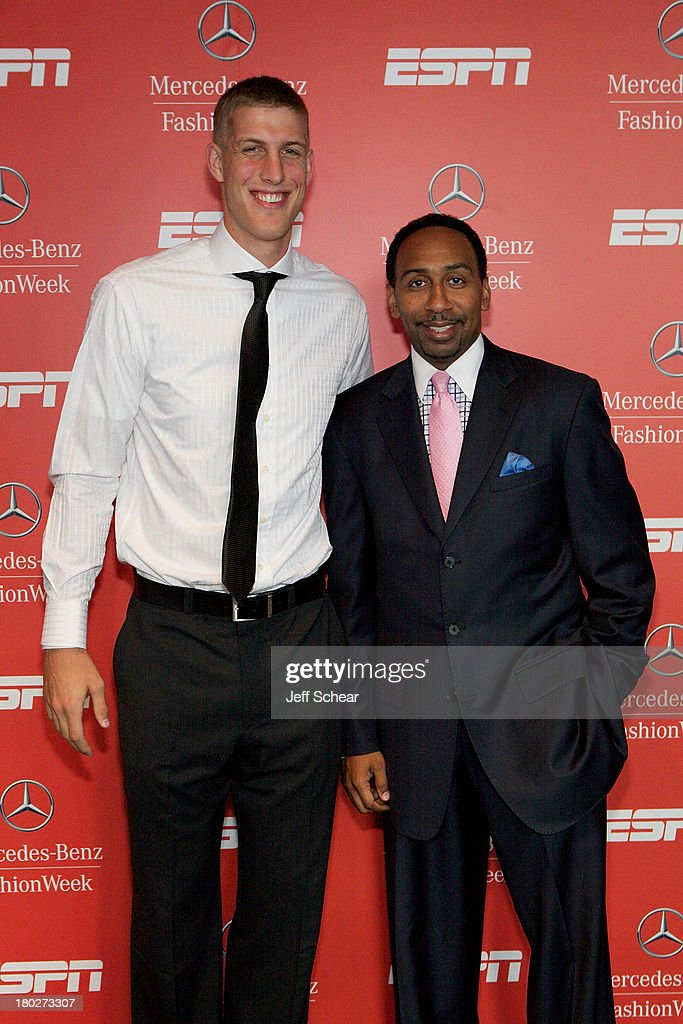 NBA player Mason Plumlee and Stephen A. Smith attend ESPN Fashion Week - Revenge of the Jocks at The Box at Lincoln Center on September 10, 2013 in New York City.