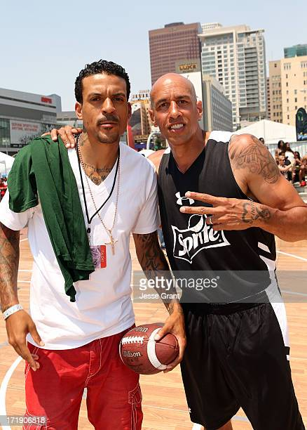 NBA player Matt Barnes and former NBA player Doug Christie at the Sprite Court during the 2013 BET Experience at LA LIVE on June 29 2013 in Los...