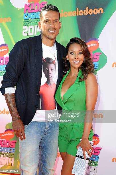 NBA player Matt Barnes and his wife Gloria Govan attend Nickelodeon Kids' Choice Sports Awards 2014 at Pauley Pavilion on July 17 2014 in Los Angeles...