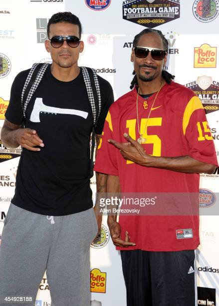 NBA player Matt Barnes and rapper Snoop Dogg attend the 2nd Annual Celebrity Flag Football Game benefiting Athletes VS Cancer at Granada Hills...