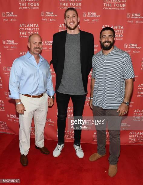 NFL Player Matt Bryant NBA Player Mike Muscala and NFL Player Josh Harris at 2017 Atlanta Celebrates The Tour Championship Kickoff Celebration at...