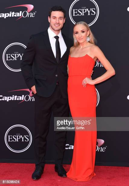 NHL player Matt Lombardi and former Olympic gymnast Nastia Liukin arrive at the 2017 ESPYS at Microsoft Theater on July 12 2017 in Los Angeles...