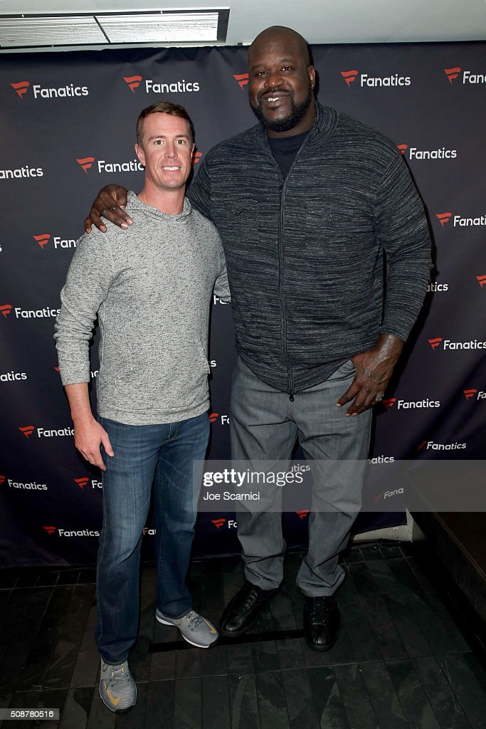 NFL player <a gi-track='captionPersonalityLinkClicked' href=/galleries/search?phrase=Matt+Ryan+-+American+Football+Player&family=editorial&specificpeople=4951318 ng-click='$event.stopPropagation()'>Matt Ryan</a> and former NBA player <a gi-track='captionPersonalityLinkClicked' href=/galleries/search?phrase=Shaquille+O%27Neal&family=editorial&specificpeople=201463 ng-click='$event.stopPropagation()'>Shaquille O'Neal</a> attend the Fanatics Super Bowl Party on February 6, 2016 in San Francisco, California.