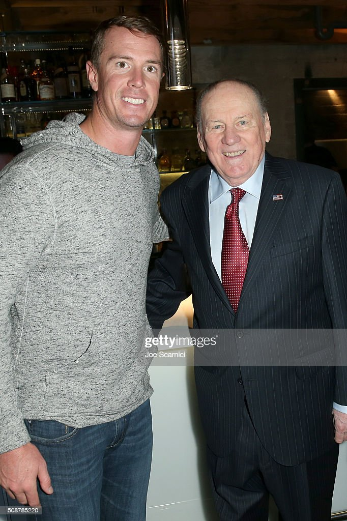 NFL player Matt Ryan and former NFl player Len Dawson attend the Fanatics Super Bowl Party on February 6, 2016 in San Francisco, California.