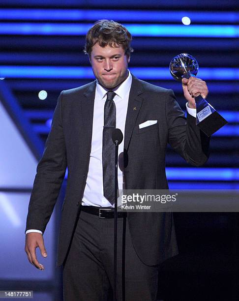 NFL player Matthew Stafford of the Detroit Lions accepts the Best Comeback award onstage during the 2012 ESPY Awards at Nokia Theatre LA Live on July...