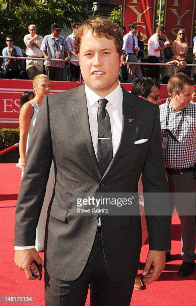NFL player Matthew Stafford of the Detroit Lions arrives at the 2012 ESPY Awards at Nokia Theatre LA Live on July 11 2012 in Los Angeles California