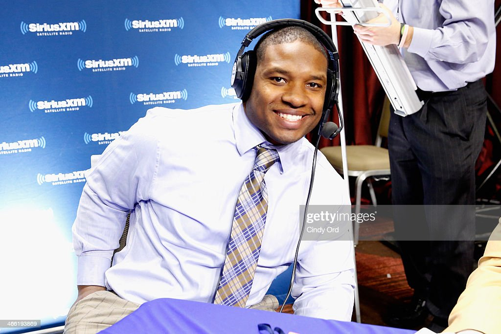 NFL player <a gi-track='captionPersonalityLinkClicked' href=/galleries/search?phrase=Maurice+Jones-Drew&family=editorial&specificpeople=243147 ng-click='$event.stopPropagation()'>Maurice Jones-Drew</a> attends SiriusXM at Super Bowl XLVIII Radio Row on January 31, 2014 in New York City.