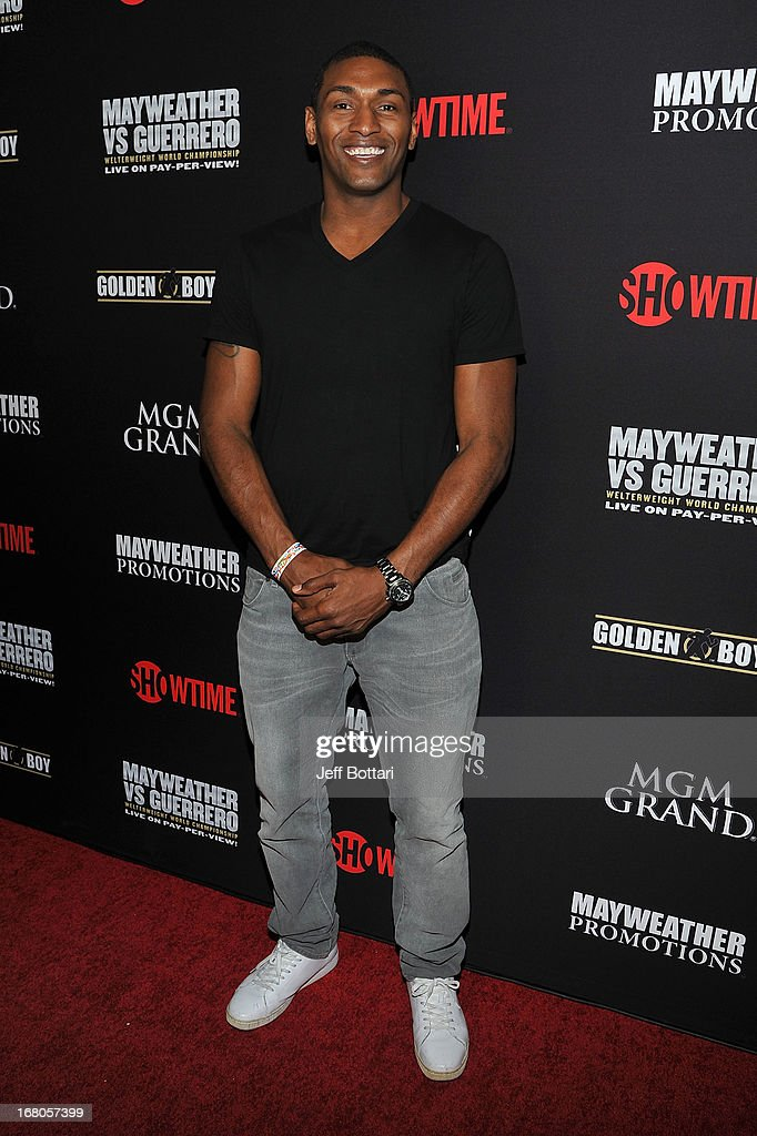 NBA player Metta World Peace arrives at a VIP pre-fight party at the WBC welterweight title fight between Floyd Mayweather Jr. and Robert Guerrero at the MGM Grand Hotel/Casino on May 4, 2013 in Las Vegas, Nevada.