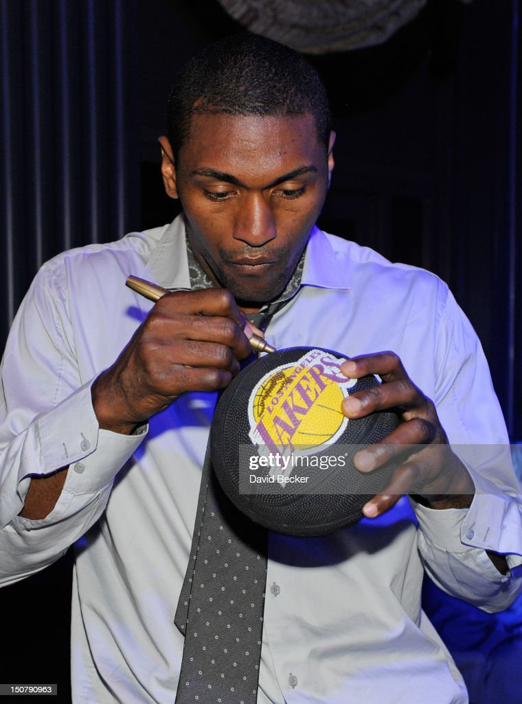 NBA player Metta World Peace, formerly known as Ron Artest, appears at Chateau Nightclub & Gardens at the Paris Las Vegas on August 25, 2012 in Las Vegas, Nevada.