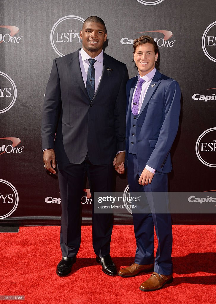NFL player <a gi-track='captionPersonalityLinkClicked' href=/galleries/search?phrase=Michael+Sam&family=editorial&specificpeople=7172674 ng-click='$event.stopPropagation()'>Michael Sam</a> with boyfriend <a gi-track='captionPersonalityLinkClicked' href=/galleries/search?phrase=Vito+Cammisano&family=editorial&specificpeople=12807490 ng-click='$event.stopPropagation()'>Vito Cammisano</a> attends The 2014 ESPYS at Nokia Theatre L.A. Live on July 16, 2014 in Los Angeles, California.