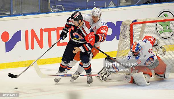 Player Michael Vandas of Vitkovice Ostrava and Player Henrik Haapala of Tappara Tampere during the Champions Hockey League round of thirtytwo game...