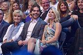 NHL player Mike Fisher and singersongwriter Carrie Underwood in audience during the 2016 CMT Music awards at the Bridgestone Arena on June 8 2016 in...