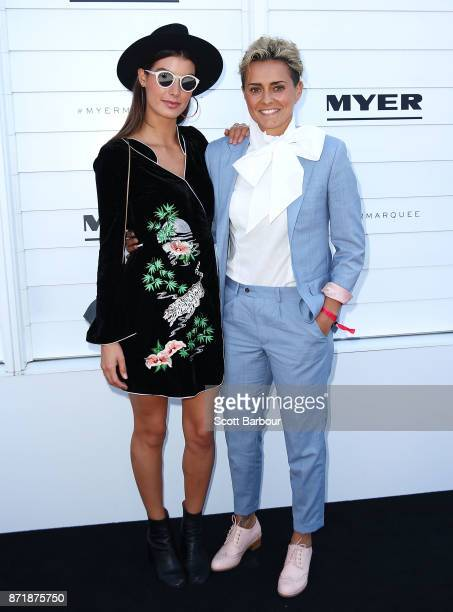 AFLW player Moana Hope and Isabella Carlstrom pose at the Myer Marquee on Oaks Day at Flemington Racecourse on November 9 2017 in Melbourne Australia