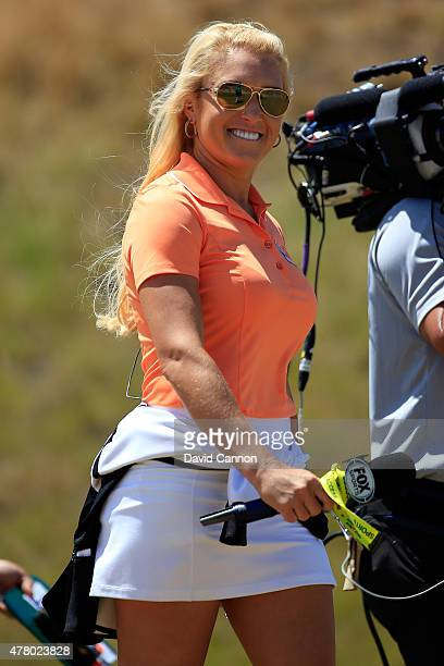 LPGA player Natalie Gulbis reports for Fox Sports during the final round of the 115th US Open Championship at Chambers Bay on June 21 2015 in...