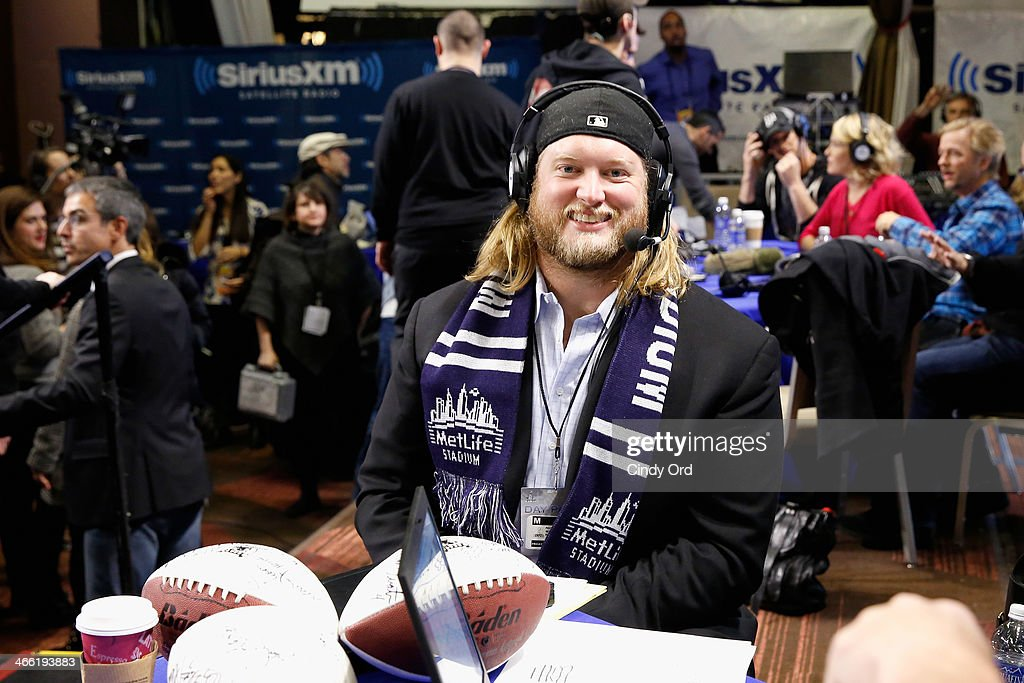 NFL player <a gi-track='captionPersonalityLinkClicked' href=/galleries/search?phrase=Nick+Mangold&family=editorial&specificpeople=566704 ng-click='$event.stopPropagation()'>Nick Mangold</a> attends SiriusXM At Super Bowl XLVIII Radio Row on January 31, 2014 in New York City.