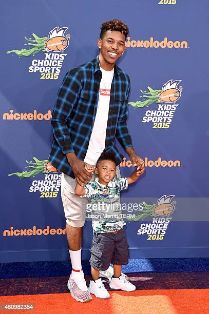 NBA player Nick Young and Nick Young Jr attend the Nickelodeon Kids' Choice Sports Awards 2015 at UCLA's Pauley Pavilion on July 16 2015 in Westwood...