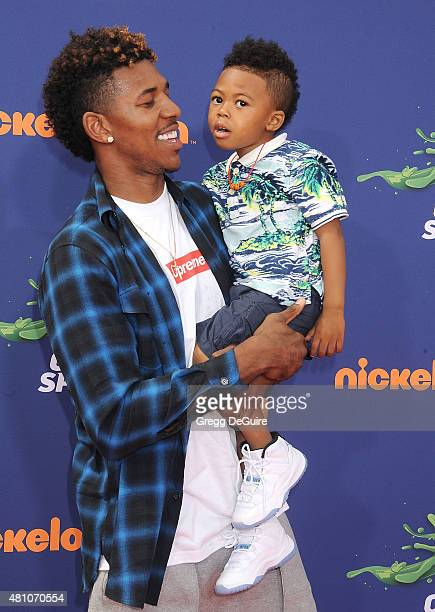 NBA player Nick Young and son Nick Young Jr arrive at the Nickelodeon Kids' Choice Sports Awards 2015 at UCLA's Pauley Pavilion on July 16 2015 in...