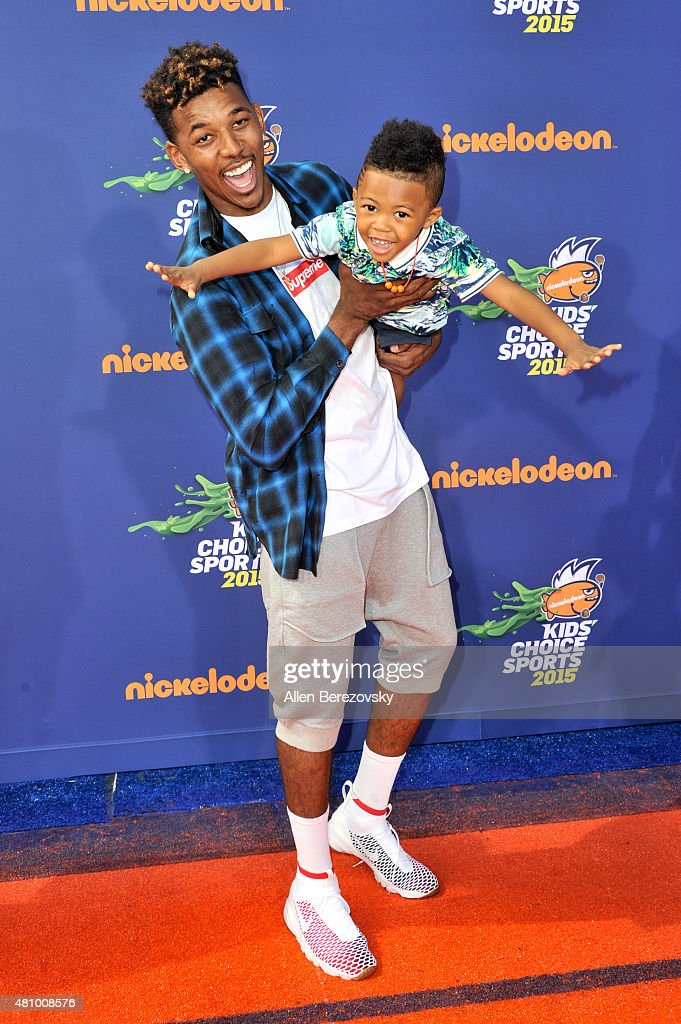 NBA player Nick Young and son Nick Young, Jr. attend the Nickelodeon Kids' Choice Sports Awards 2015 at UCLA's Pauley Pavilion on July 16, 2015 in Westwood, California.