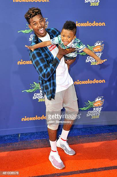 NBA player Nick Young and son Nick Young Jr attend the Nickelodeon Kids' Choice Sports Awards 2015 at UCLA's Pauley Pavilion on July 16 2015 in...