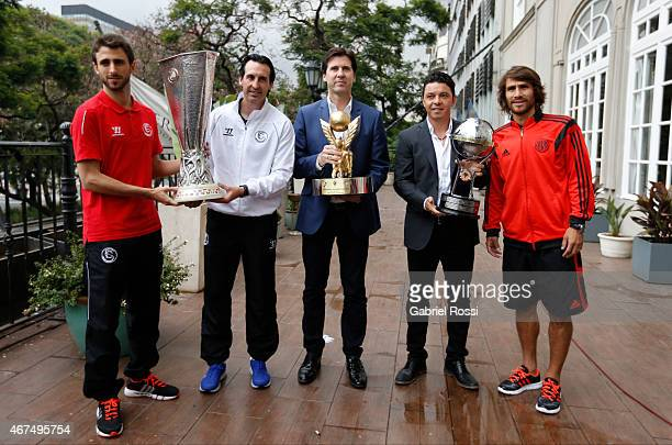 Player Nicolas Pareja and head coach Unai Emery of Sevilla FC tournament director Alfonso Noáin head coach Marcelo Gallardo and Leonardo Ponzio of...