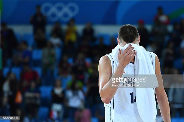 Player Nikola Jokic of Serbia is seen after the lost of the game during a Men's round Group A basketball match between Serbia and France at the...