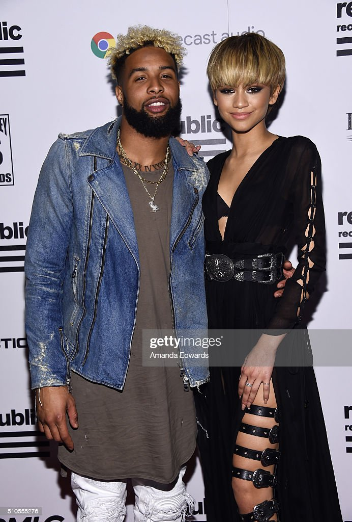 NFL player Odell Beckham Jr. (L) and actress Zendaya arrive at the Republic Records Private GRAMMY Celebration at HYDE Sunset: Kitchen + Cocktails on February 15, 2016 in West Hollywood, California.