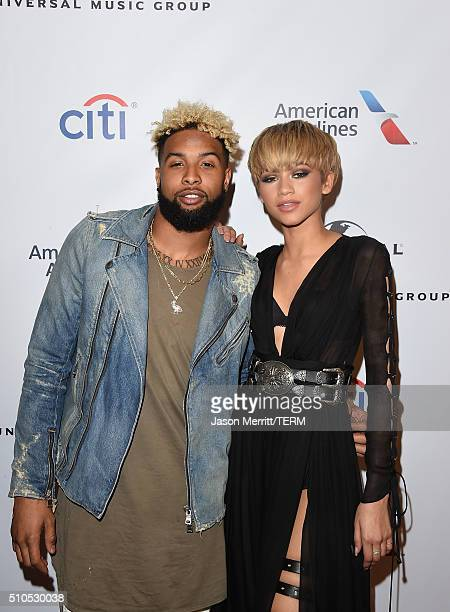 NFL player Odell Beckham Jr and singer Zendaya attend Universal Music Group's 2016 GRAMMY after party at The Theatre At The Ace Hotel on February 15...