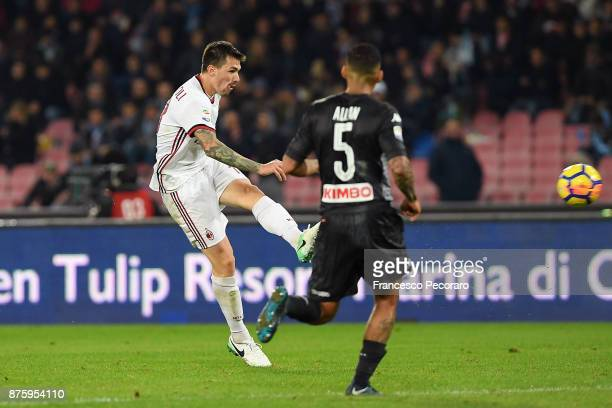 Player of AC Milan Alessio Romagnoli scores the 21 goal during the Serie A match between SSC Napoli and AC Milan at Stadio San Paolo on November 18...