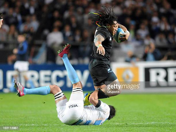 Player of Argentina reacts during the match between Argentina and New Zealand as part of the The Rugby Championship at Ciudad de la Plata stadium on...