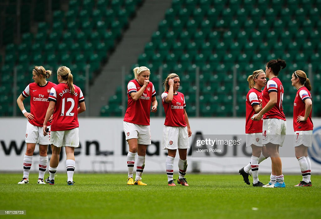 Player of Arsenal are seen after loosing the Women's Champions League semi-final second leg match between VfL Wolfsburg and Arsenal Ladies FC at Volkswagen Arena on April 21, 2013 in Wolfsburg, Germany.