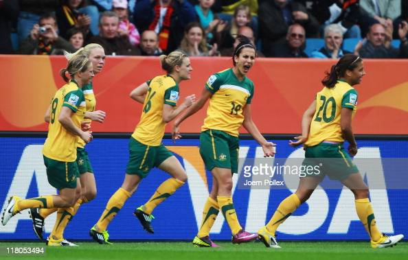 Player of Australia celebrate after Emily van Egmond scored their second goal during the FIFA Women's World Cup 2011 Group D match between Australia...