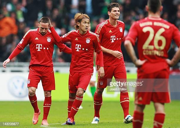 Player of Bayern celebrate after Naldo of Bremen scored a own goal during the Bundesliga match between SV Werder Bremen and FC Bayern Muenchen at...