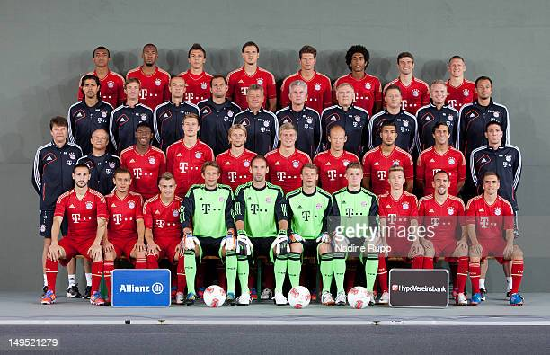 Player of Bayern line up for the offical team picture during the Bayern Muenchen team presentation at Bayern's training ground Saebener Strasse on...