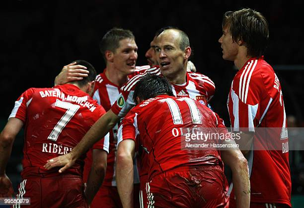 Player of Bayern Munich celebrate their third goal during the DFB Cup final match between SV Werder Bremen and FC Bayern Muenchen at Olympic Stadium...