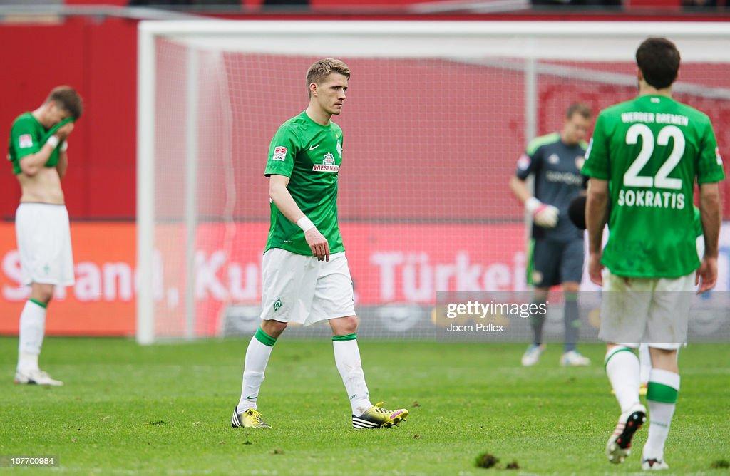 Player of Bremen are seen after the Bundesliga match between Bayer 04 Leverkusen at SV Werder Bremen at BayArena on April 27, 2013 in Leverkusen, Germany.