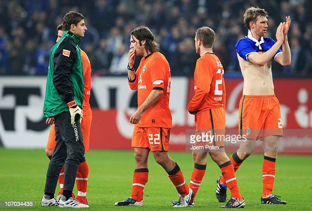 Player of Bremen are seen after the Bundesliga match between FC Schalke 04 and SV Werder Bremen at Veltins Arena on November 20 2010 in Gelsenkirchen...