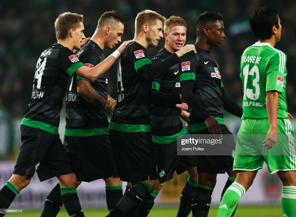 Player of Bremen celebrates after scoring the first goal during the Bundesliga match between VfL Wolfsburg and SV Werder Bremen at Volkswagen Arena on November 24, 2012 in Wolfsburg, Germany.