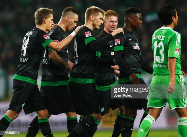 Player of Bremen celebrates after scoring the first goal during the Bundesliga match between VfL Wolfsburg and SV Werder Bremen at Volkswagen Arena...