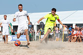 Player of BSC Ibbenbueren and Player of Rostocker Robben compete for the ball during the final match German Beachsoccer Championship 2015 between BSC...