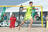 Player of BSC Ibbenbueren celebrate his first goal during the final match German Beachsoccer Championship 2015 between BSC Ibbenbueren and Rostocker...