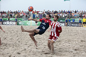 Player of BST Chemnitz and Player of Beach Royals Duesseldorf compete for the ball during the third place match German Beachsoccer Championship 2015...