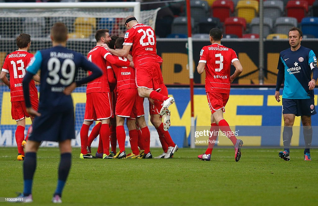 Player of Duesseldorf celebrate after Mainz scored a own goal during the Bundesliga match between Fortuna Duesseldorf 1895 and 1. FSV Mainz 05 at Esprit-Arena on March 3, 2013 in Duesseldorf, Germany.