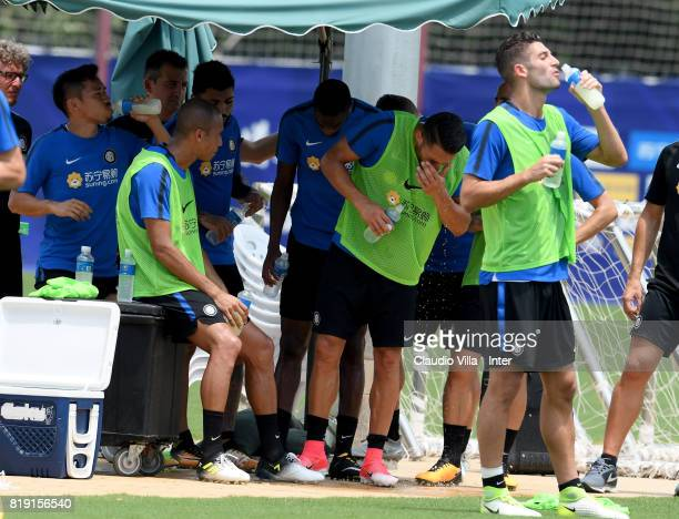 Player of FC Internazionale drink during a FC Interazionale training session at Suning training center on July 20 2017 in Nanjing China