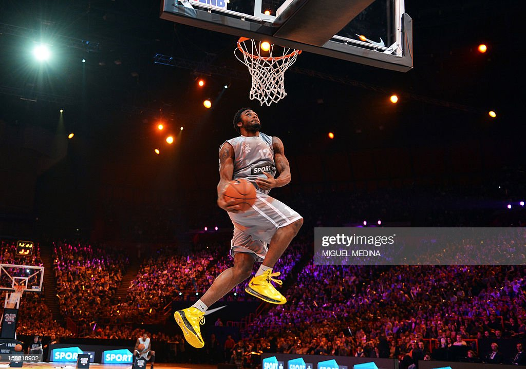 US player of French team JL Bourg-en-Bresse, L.D. Williams, jumps and won the dunk challenge during the France's national basketball league (LNB) 2012 All Star Game on December 30, 2012 at the Palais Omnisport de Paris-Bercy (POPB) in Paris.