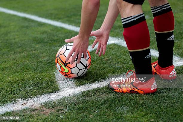 A player of Germany prepares to take the corner during the UEFA Under16 match between U16 France v U16 Germany on February 6 2016 in Vila Real de...